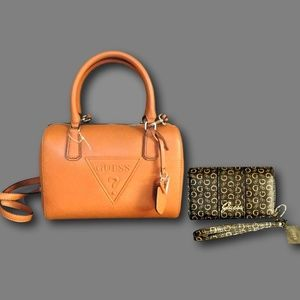 Guess Satchel Handbag + Wallet Wristlet